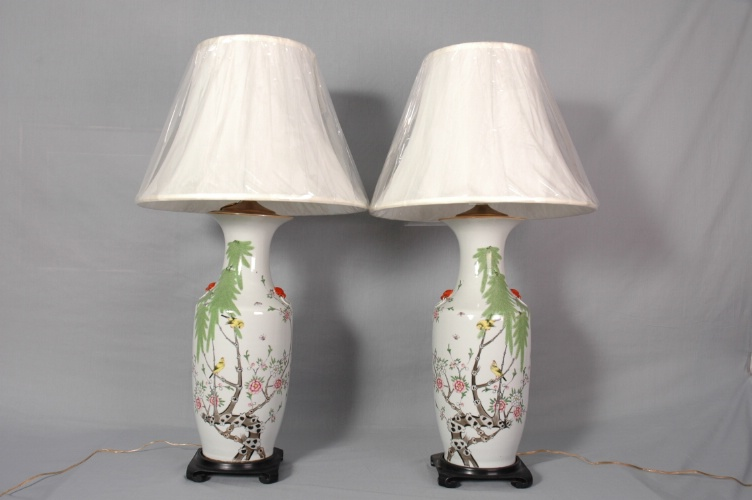 Pair of Large Chinese vase/lamps, China, c. 1920
