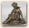 Bronze Sculpture of a seated girl, France, c. 1880